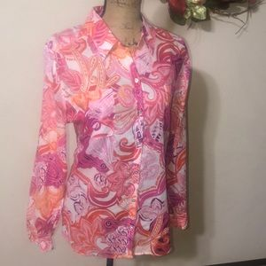 Chico's Blissful Flowers Button Down Shirt